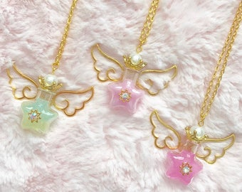 Royal Crown Glitter Star Jar Necklace