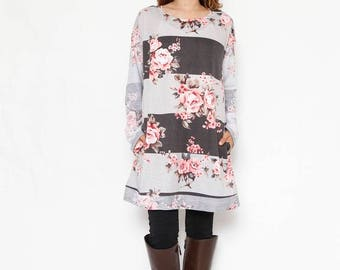 Two Tone Floral Block Tunic