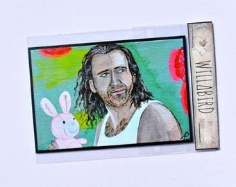 Nic Cage, Con Air, by Artist Amber Petersen. Magnet, Postcard, or Print. Original in Acrylic on Panel Board. Put the Bunny Back in the Box