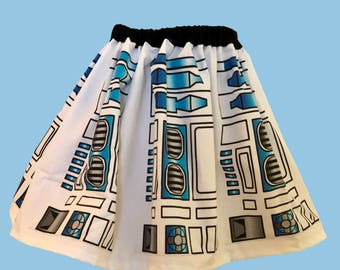 R2D2 Skirt for Young  Gals, Sizes 2T to 12 girls