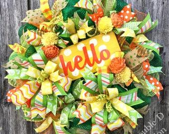 Hello Deco Mesh Wreath, Summer Wreath, Hello Wreath, Hello Decor, Summer Decor, Everyday Wreath, Summer Deco Mesh Wreath, Front Door Decor