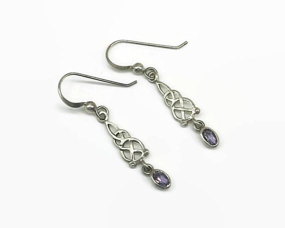 Sterling silver and amethyst Celtic knot hook earrings, dangling earrings, stamped 925 for sterling silver, pretty and feminine