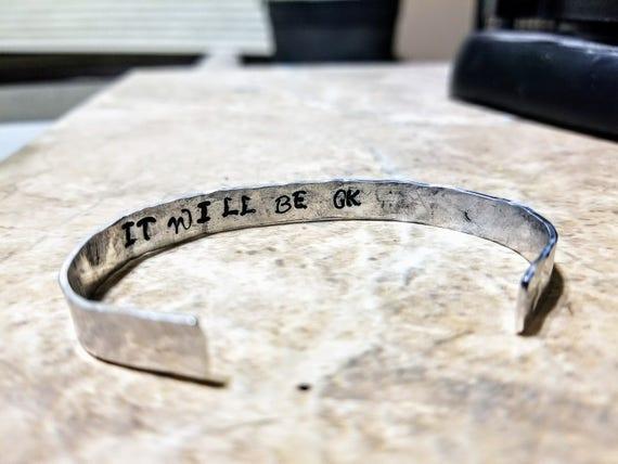 Hidden Message Bracelet - Rustic, Stamped, Hammered Bracelet