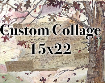 Custom Mixed Media Collage- Paper or Canvas- 15x22 - Abstract Art- Wedding, Family, Birthday, Anniversary