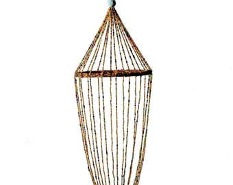 Vintage Bohemian hand multicolor glass seed bead hanging birdcage Christmas decor C36-5