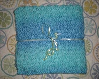 Handknit Baby Blanket, Blue Knit Baby Blanket, Newborn Blanket, Bassinet Blanket, Newborn Boy Baby Blanket,