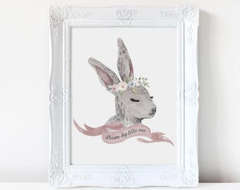Boho Bunny Watercolor Print Design Vintage Rabbit Baby Girl Nursery Digital Download Rustic Romance Fairytale Storybook Sweet Girly Natural