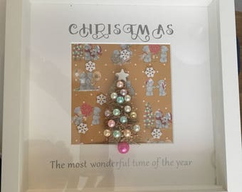Christmas frame unique light up miniatures Christmas box frame personalised at no extra cost