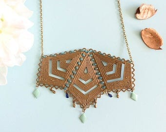 "Necklace ""Mabyn"" bronze and blue"
