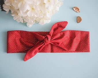 Head band style pinup red gold dot - Vintage / retro