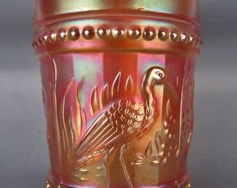 Carnival Glass Dugan / Diamond STORK & RUSHES Marigold Beaded Tumbler