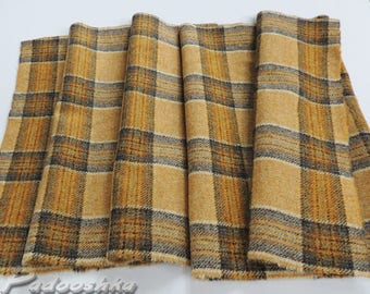Scottish tweed fabric remnant Tartan wool Yellow gold plaid fabric offcut Patchwork applique Small textile sewing project Abraham Moon tweed