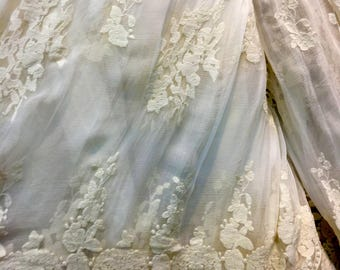 Embroidery silk fabric,crinkle silk chiffon lace fabric in beige,wedding dress fabric-ZSME0026