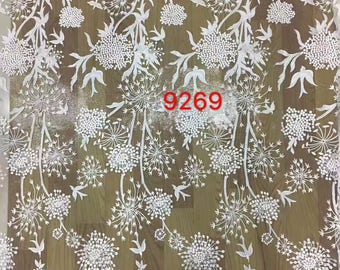 embroidery dandelion  Lace fabric in white,dress lace sell by yard ,wedding lace ,grass and flower embroidery lace-9269