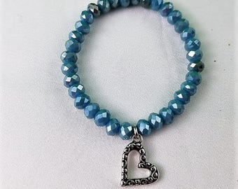 Blue Faceted Rondelle Beads with Heart Charm