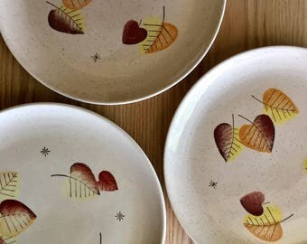 Vernon Sherwood dinner plates leaves and starburst on speckled background sold individually