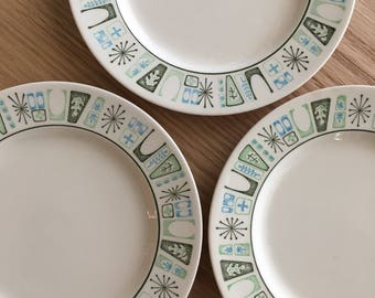 Cathay by Taylor Smith & Taylor bread plate mod atomic starburst green and blue pattern