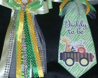 Baby shower jungle safari mommy To Be corsage and a matching daddy To Be Tie