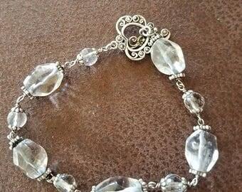 Quartz and sterling silver bracelet