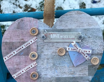 Personalised valentine or wedding heart wallhanging. Reclaimed gift, rustic wedding gift, ethical wedding, personalisation possible