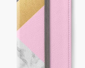 Folio Wallet Case for iPhone 8 Plus, iPhone 8, iPhone 7, iPhone 6 Plus, iPhone SE, iPhone 6, iPhone 5s -  Black & Pink Marble Design