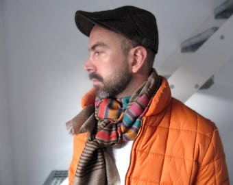Mens scarves, wool scarf, wool woven scarf, striped scarf, warm scarf, trendy scarf for men, winter scarf, gift for man