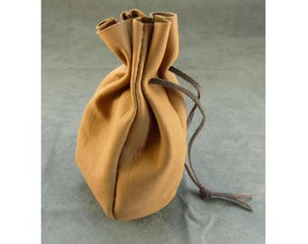 Leather Drawstring Dice Bag Coin Purse Drawstring Pouch in Multiple Colors - Brown Tan Green Black