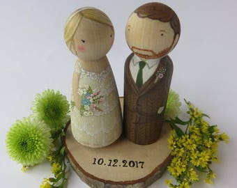 Wedding Cake Toppers// Peg Dolls Custom Wedding Cake toppers// Wooden Dolls//Cake toppers