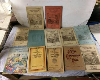Lot of 12 early 1900s child's music books composition the golden book of favorite songs child's own book of great musicians songs antique