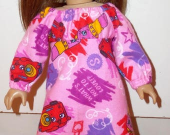 """New Pink Shopkins Flannel Nightgown Pajamas Fits 18"""" American Girl Dolls"""