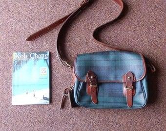 Vintage PU Leather Bag Polo RALPH Laurent Black Watch Plaid Messenger Bag / Shoulder Crossbody / Small / Authentic