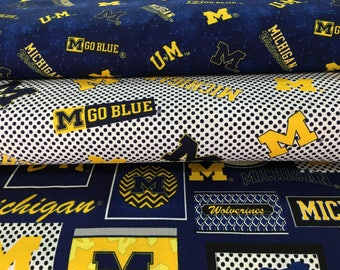 """MICHIGAN WOLVERINES  45"""" Cotton Fabric By The Yard 3 New Prints Sykel Enterprises"""