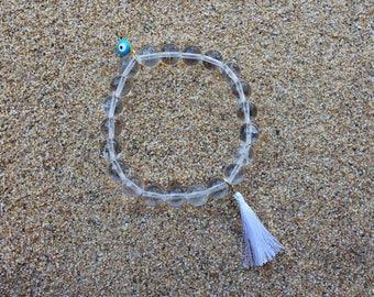 Eye of Protection Clear Quartz Stretch Bracelet