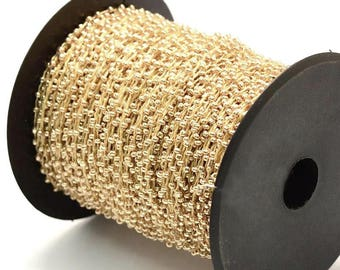 30ft/Spool Light Gold Plated Seed Beads Beaded Cord