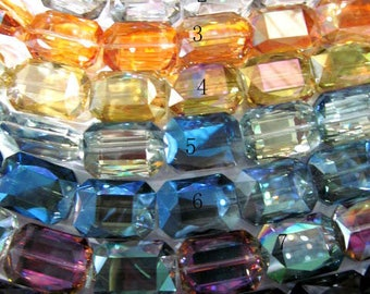 Assorted Crystal like swarovski  crystal beads,ablong rectangle  faceted crystal beads AB pink red  crystal necklace 8-25mm full strand