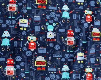 Fabric - cotton/elastane medium weight jersey fabric - navy robot print - knit fabric.
