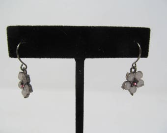 Flower Hook Earrings - White and Pink/Purple Dangle Drops