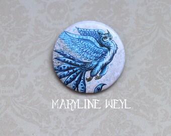 OWL ice Phoenix brooch badge