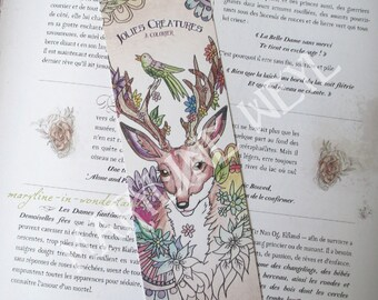 "Bookmark ""lovely creatures coloring"" deer coloring"
