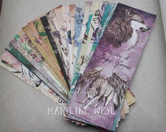 Set of 25 bookmarks (CAT, Unicorn, dragon, Werewolf, Phoenix)
