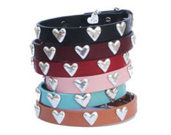 Heart Leather Collar - Medium
