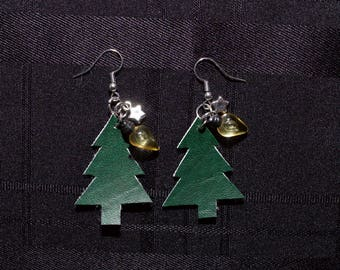 Handcut Faux Leather Christmas Tree Earrings