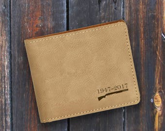 Engraved Bifold Wallet-Personalized Hunting-Mini Size Art Work-Light Brown Wallet-Personalized Rifle