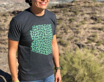 Arizona Cactus Agave Men's Shirt - Charcoal, T-shirt, Graphic Tees For Men