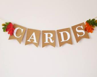 Autumn wedding, Cards banner, Fall wedding decoration, Wedding sign, rustic
