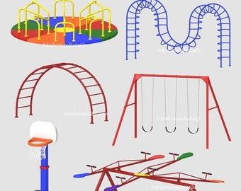 80% OFF SALE playground clip art. playground ClipArt. kids clipart. playground equipment clipart. swings. merry go round. basketball.