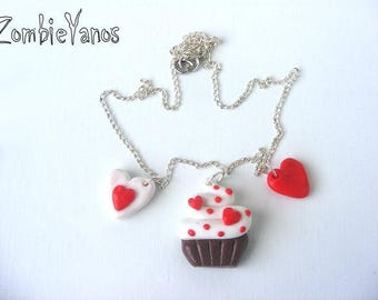 Beautiful red muffin and hearts necklace polymer clay pendant
