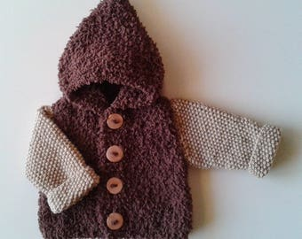Jacket baby birth in 24 months knit brown and beige woolen hand with hood