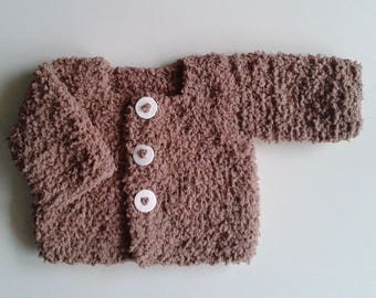 Brown wool hand knitted Cardigan for baby newborn to 12 months