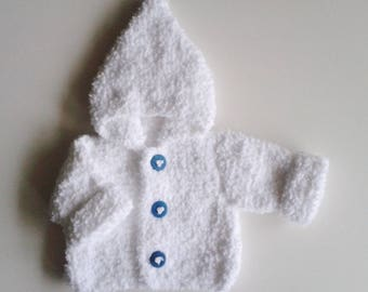 Jacket with hood baby birth in 24 months knit white woolen hand